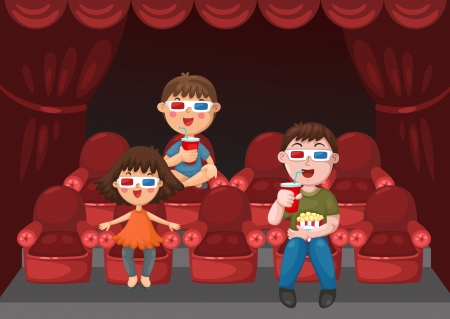 20194479 - illustration of isolated kids watching a movie with 3d glasses